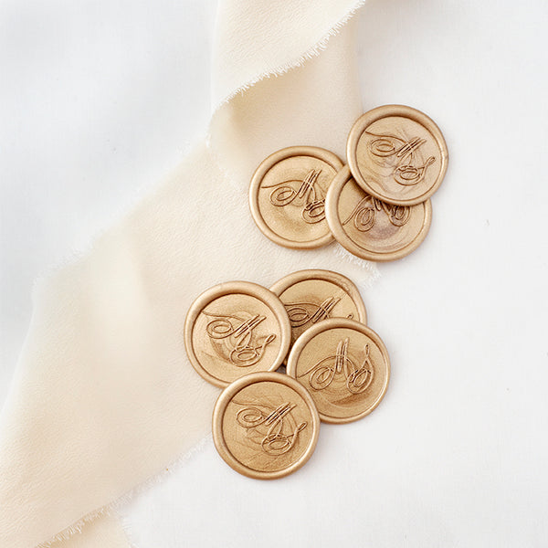 Gold Calligraphy Monogram Wax Seals for Fine Art Weddings | Heirloom Seals