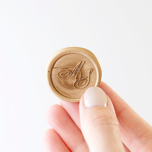 Gold Calligraphy Monogram Wax Seal | Heirloom Seals