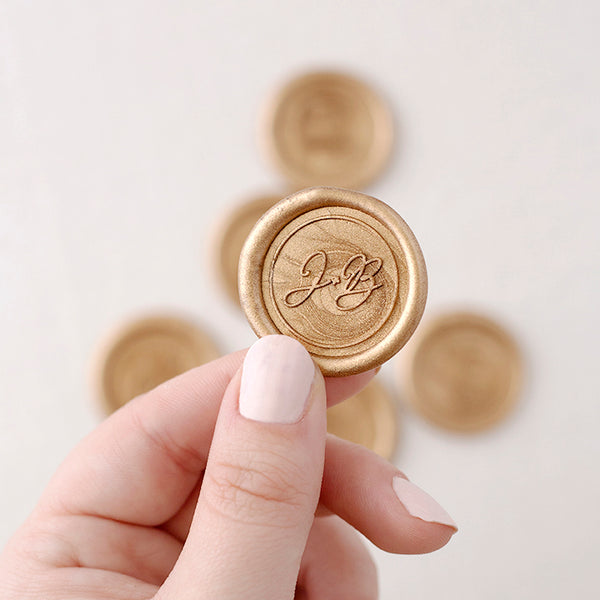 Gold Script Monogram Wax Seals | Heirloom Seals