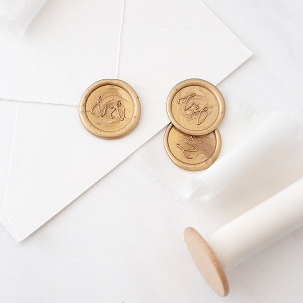 Elegant Script Gold Monogram Wax Seals for Fine Art Weddings | Heirloom Seals