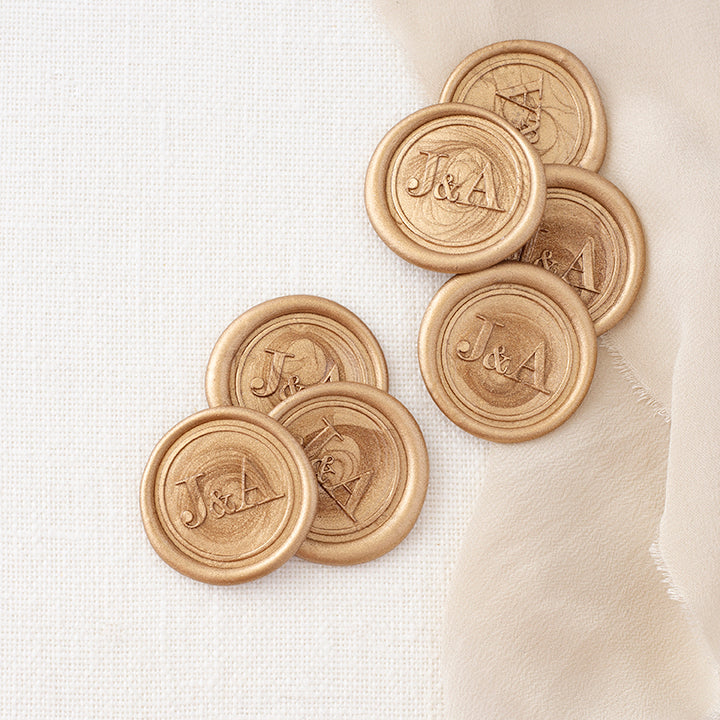 Gold Classic Monogram Wax Seals for Minimal Wedding | Heirloom Seals