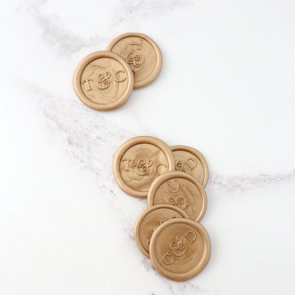 Beautiful Gold Monogram Wax Seals for Wedding Invitations | Heirloom Seals