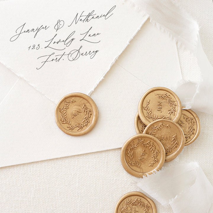 Gold Botanical Monogram Wax Seals for Fine Art Wedding Invitations | Heirloom Seals