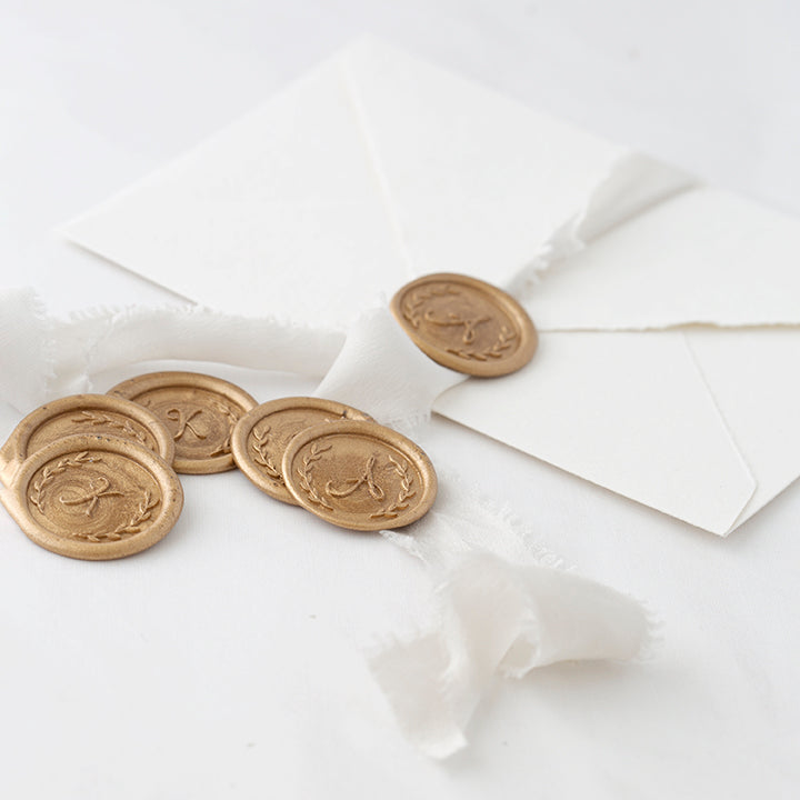 Script Botanical Monogram Wax Seals | Gold Calligraphy | Heirloom Seals