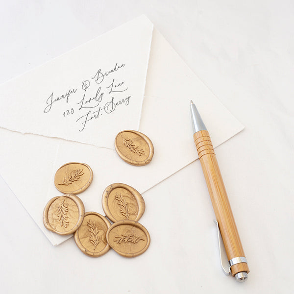 Olive Branch Oval Wax Seal | Botanical Gold Shape | Heirloom Seals