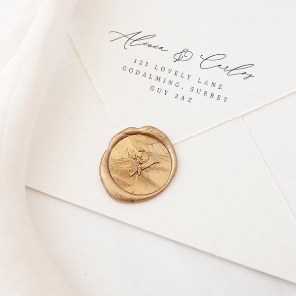 Gold Peony Bud Wax Seals for Spring Wedding | Heirloom Seals