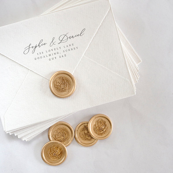 Pretty Gold Peony Wax Seals | Heirloom Seals