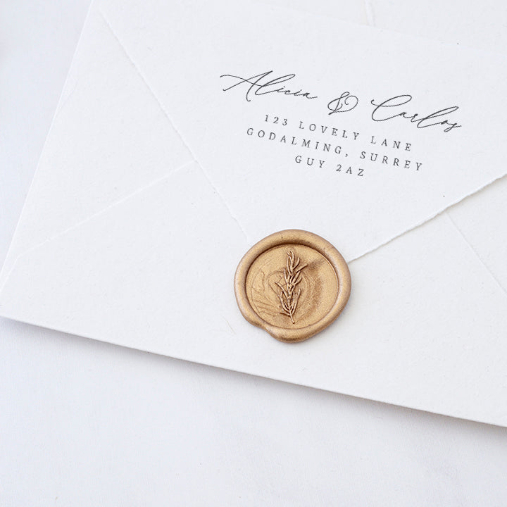 Gold Rosemary Botanical Sprig Wax Seals | Heirloom Seals