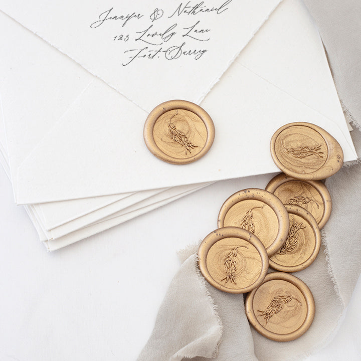 Gold Willow Branch Botanical Wax Seals for Fine Art Weddings | Heirloom Seals