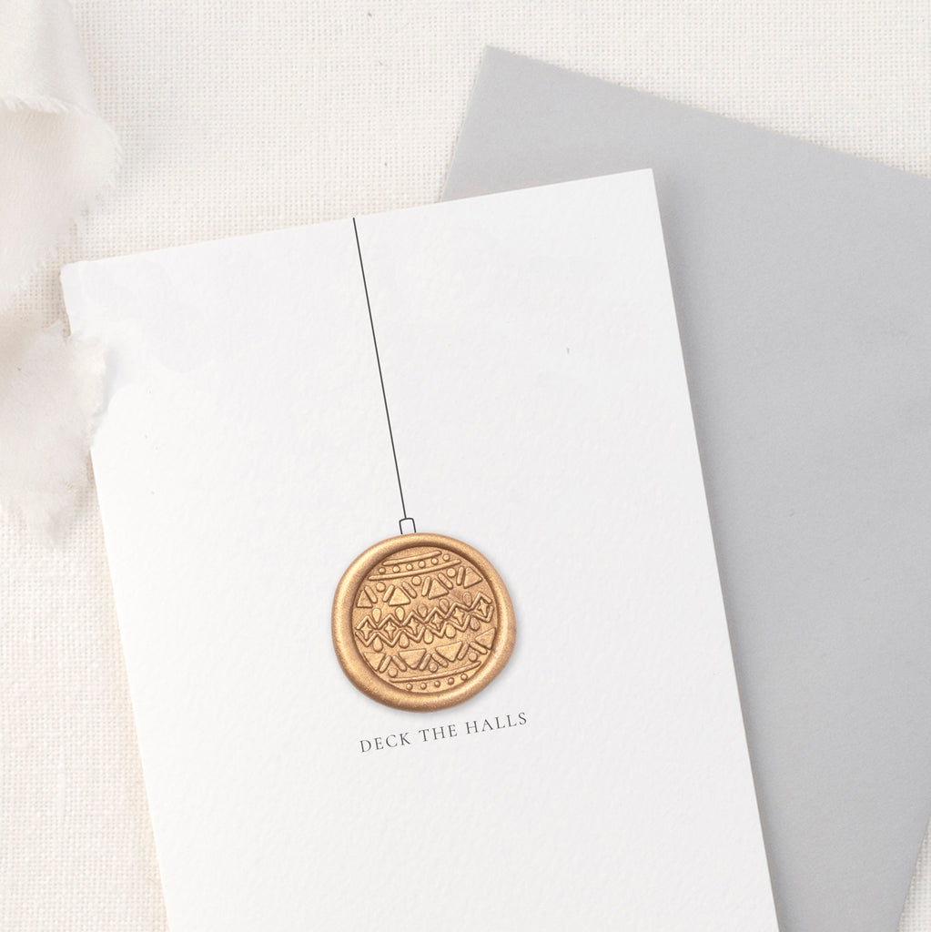 Deck The Halls Bauble Merry Christmas Greeting Card with Hand Stamped Wax Seal | Heirloom Seals