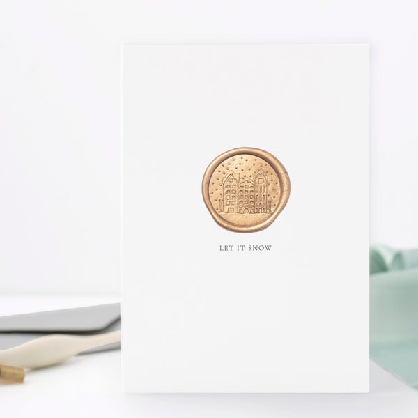 Let It Snow Snowy Village Scene Greeting Card with Hand Stamped Wax Seal | Heirloom Seals