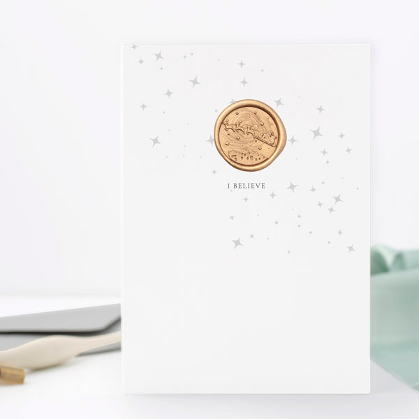 I Believe Santa in the Night Sky Greeting Card with Hand Stamped Wax Seal | Heirloom Seals