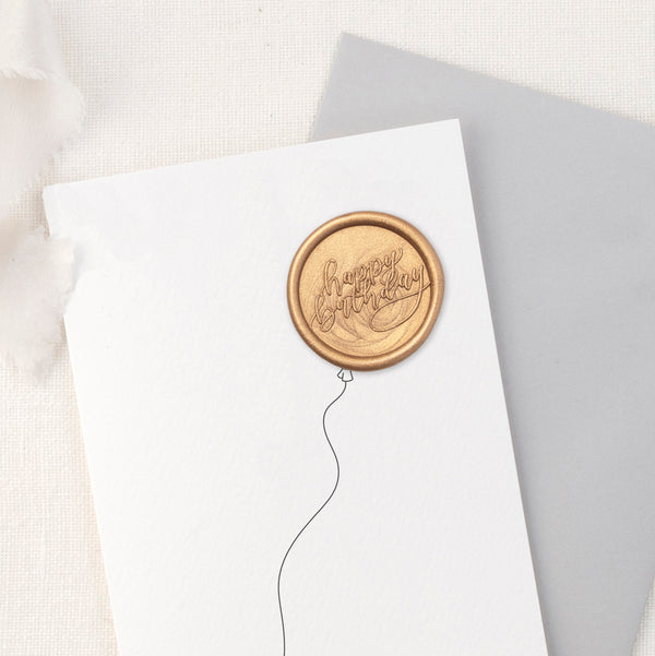 Happy Birthday Balloon Hand Lettered Wax Seal Greeting Card | Heirloom Seals