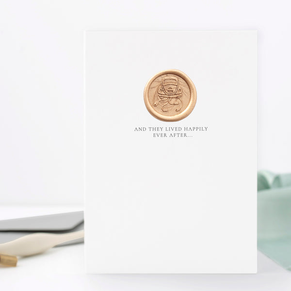 Vintage Car with Cans Wedding Day Greeting Card with Hand Stamped Wax Seal | Heirloom Seals
