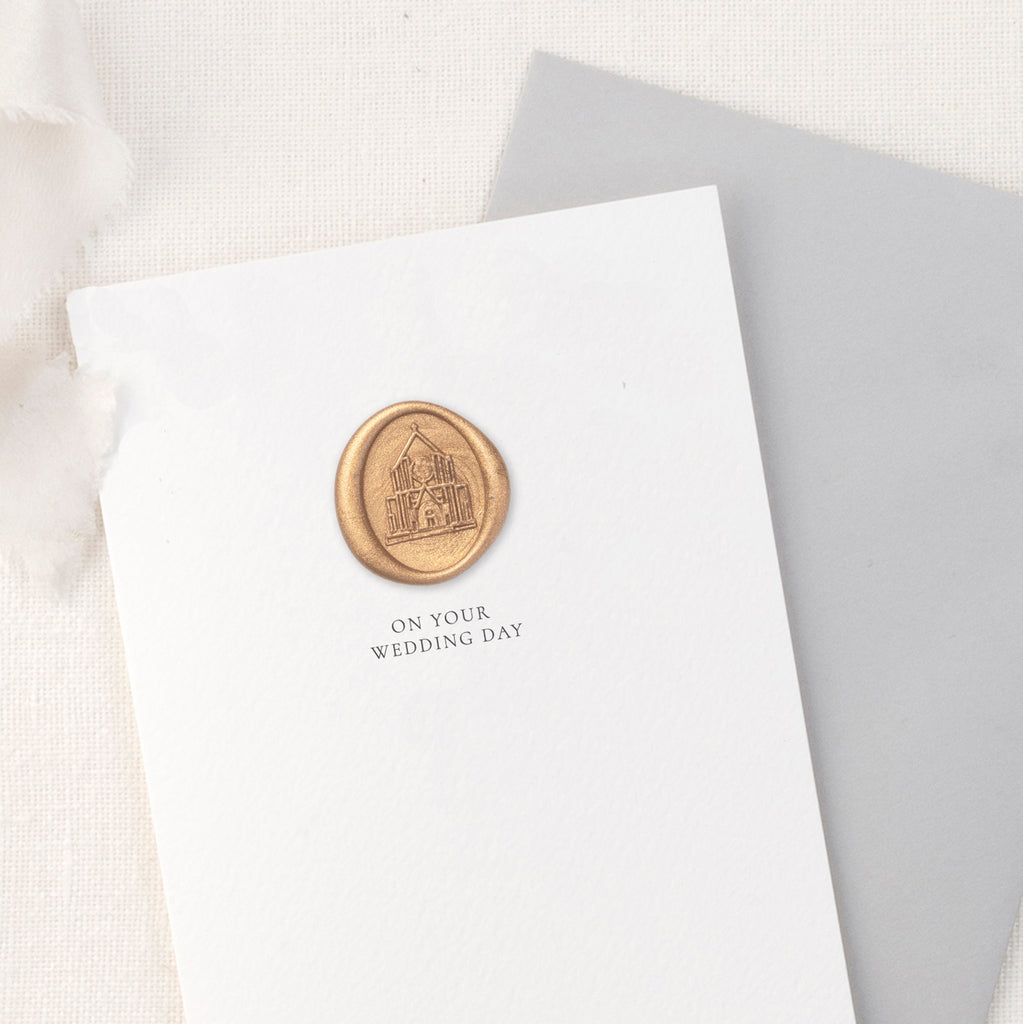 On Your Wedding Church Illustration Greeting Card with Hand Stamped Wax Seal | Heirloom Seals