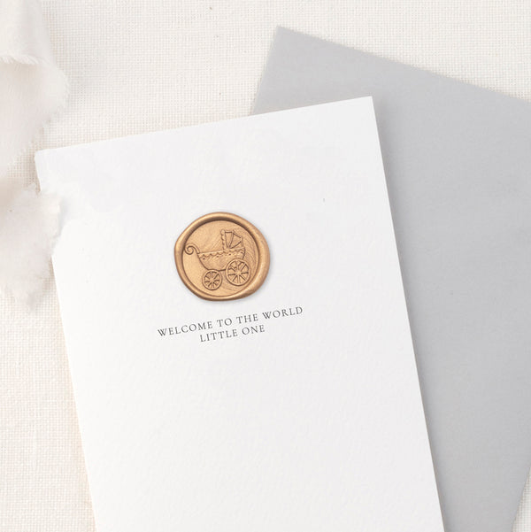New Baby Vintage Pram Greeting Card with Hand Stamped Wax Seal | Heirloom Seals