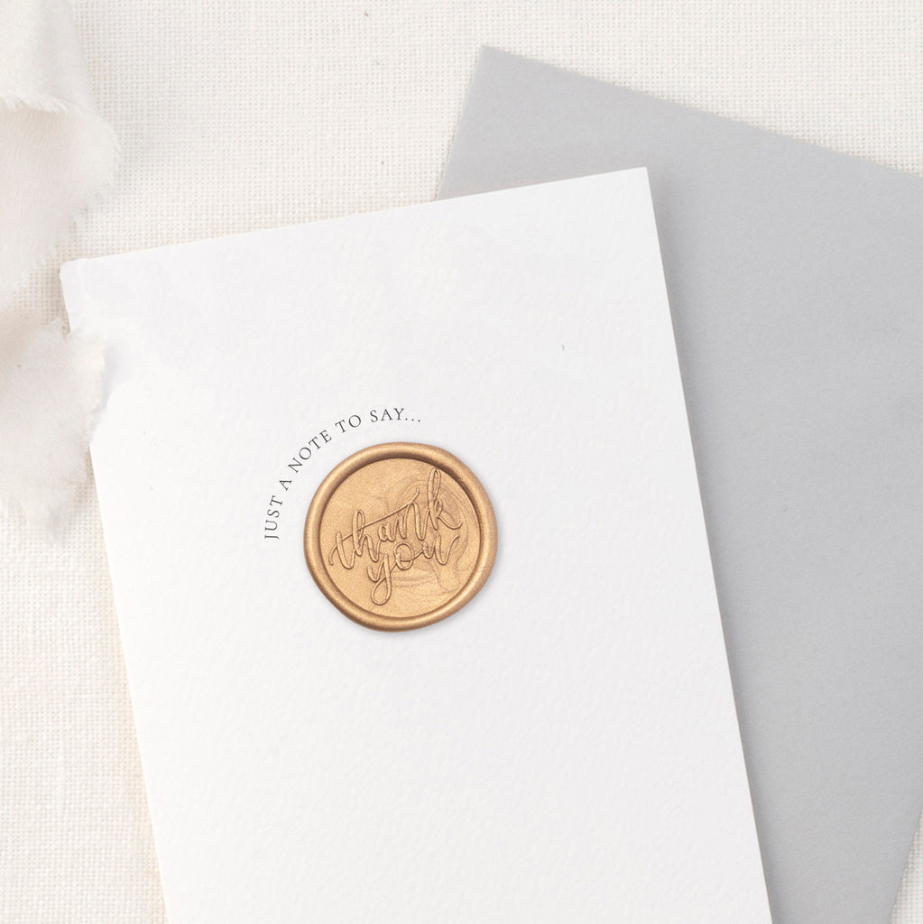 Thank You Calligraphy Script Greeting Card with Hand Stamped Wax Seal | Heirloom Seals