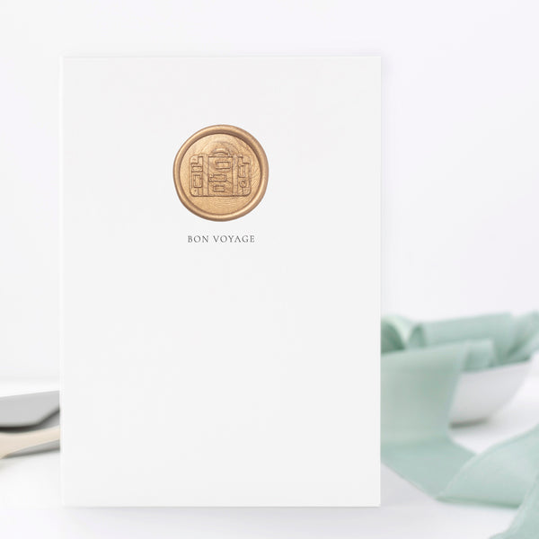 Bon Voyage Vintage Suitcase Hand Stamped Wax Seal Greeting Card | Heirloom Seals