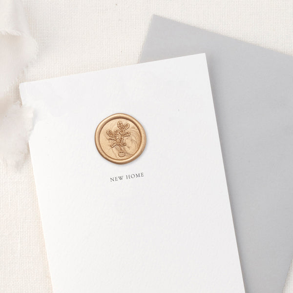 New Home Fig Plant Greeting Card with Hand Stamped Wax Seal | Heirloom Seals