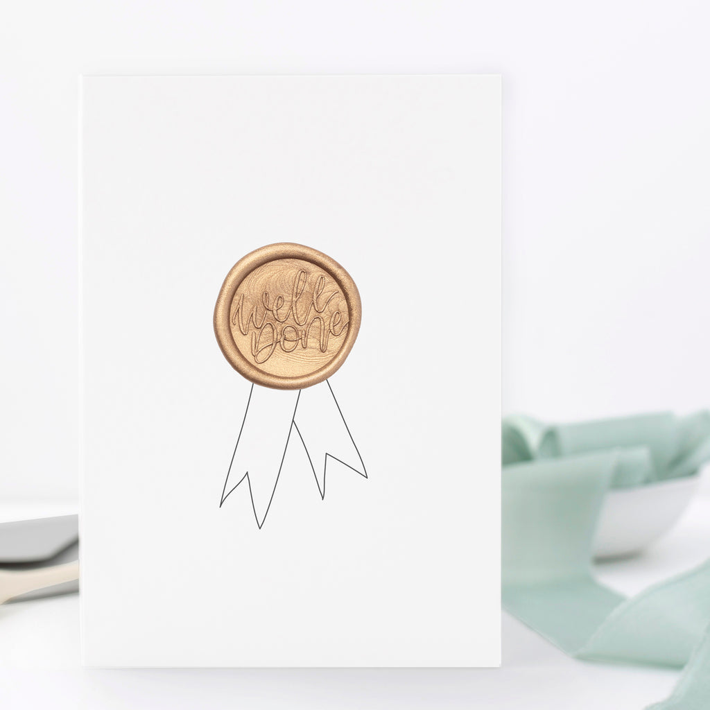 Well Done Rosette Greeting Card with Hand Stamped Wax Seal | Heirloom Seals