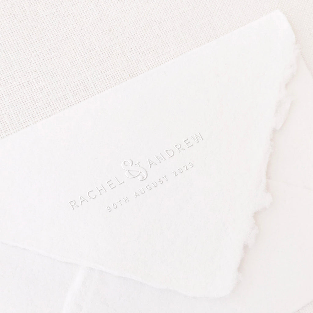 Harper Elegant Minimal Save The Date Embosser | Handmade Deckled Edge Paper Embossed Envelopes for Fine Art Wedding Stationery Invitations and Custom Luxe Brand Packaging | Heirloom Seals