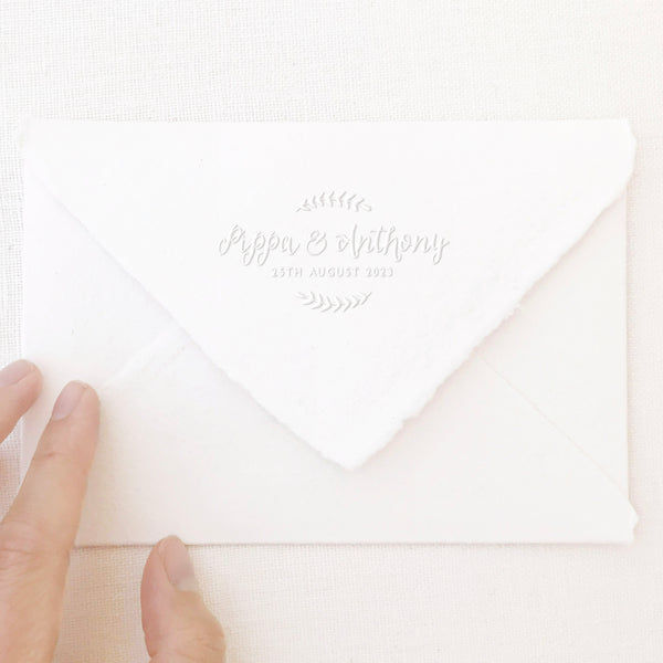 Hayley Rustic Botanical Save The Date Embosser | Handmade Deckled Edge Paper Embossed Envelopes for Fine Art Wedding Stationery Invitations and Custom Luxe Brand Packaging | Heirloom Seals