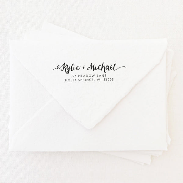 Hayley Calligraphy Script Return Address | Personalised Rubber Stamp with Wooden Handle for Fine Art Wedding Stationery Invitation Envelope | Heirloom Seals