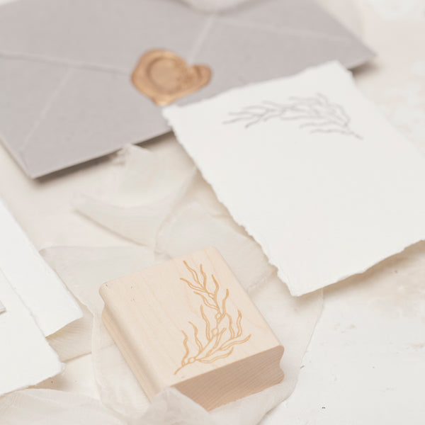 Rockweed Seaweed Botanical Rubber Stamp for Embossed Wedding Invitation Envelopes | Coastal Beach Wedding | Heirloom Seals