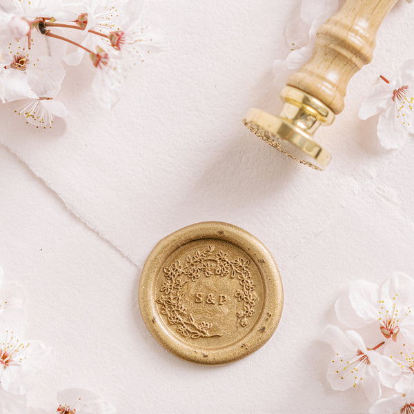 Ichika Cherry Blossom Monogram Wax Seal Stamp | 'Sakura' Cherry Blossom Embellishments for Blush Pink Spring Wedding | Heirloom Seals