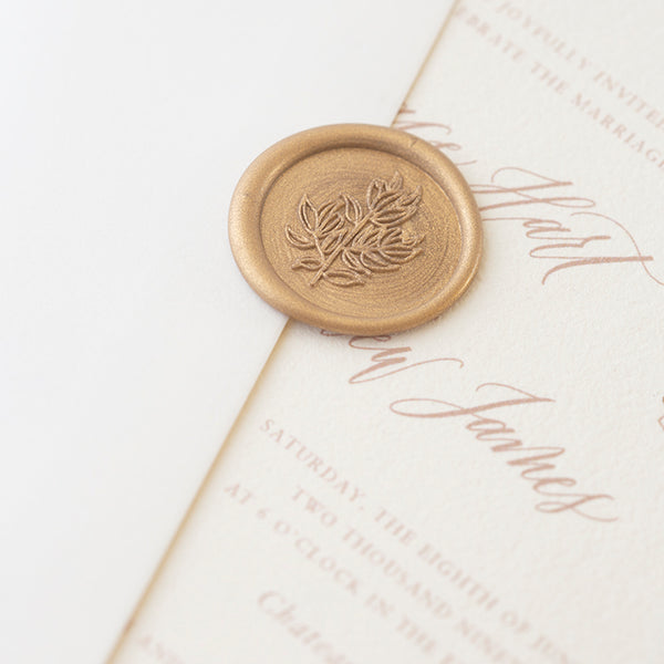 Gold Magnolia Leaf Self Adhesive Wax Seals | Mathilda Lundin | Heirloom Seals