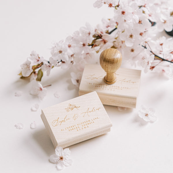 Misaki Cherry Blossom Return Address Rubber Stamp for Fine Art Wedding Invitations | 'Sakura' Cherry Blossom Embellishments for Blush Pink Spring Wedding | Heirloom Seals