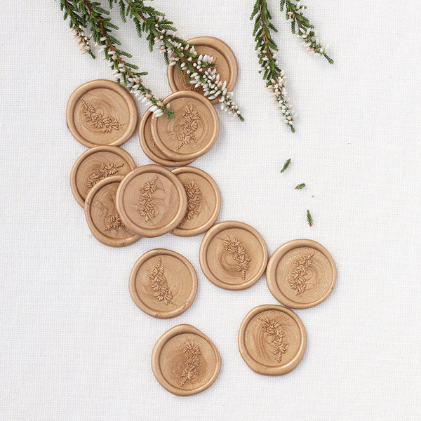 Gold Mountain Heather Wax Seals | Botanical Wax Seals | Heirloom Seals