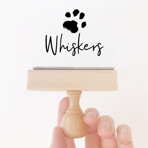 MODERN SCRIPT PAW PRINT RUBBER STAMP