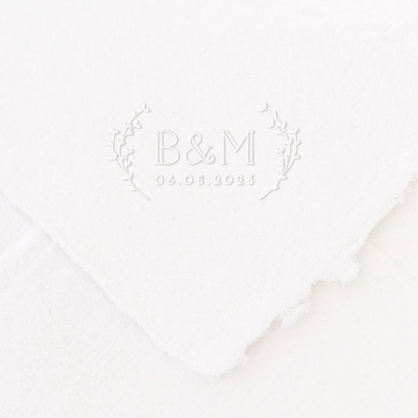 Penelope Botanical Calligraphy Script Save The Date Embosser | Handmade Deckled Edge Paper Embossed Envelopes for Fine Art Wedding Stationery Invitations and Custom Luxe Brand Packaging | Heirloom Seals