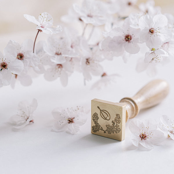 CHERRY BLOSSOM MONOGRAM SQUARE WAX SEAL STAMP - PETAL PINK