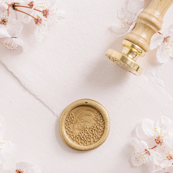 Pink Lace Cherry Blossom Wax Seal Stamp | 'Sakura' Cherry Blossom Embellishments for Blush Pink Spring Wedding | Heirloom Seals