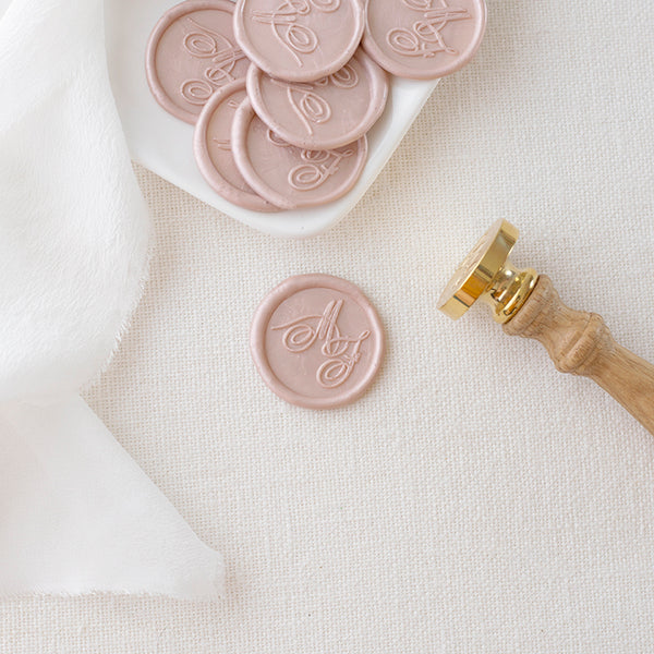 Blush Pink Calligraphy Monogram Wax Seals for Fine Art Weddings | Heirloom Seals