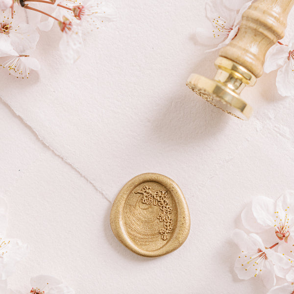 Pink Pearl Cherry Blossom Oval Wax Seal Stamp | 'Sakura' Cherry Blossom Embellishments for Blush Pink Spring Wedding | Heirloom Seals