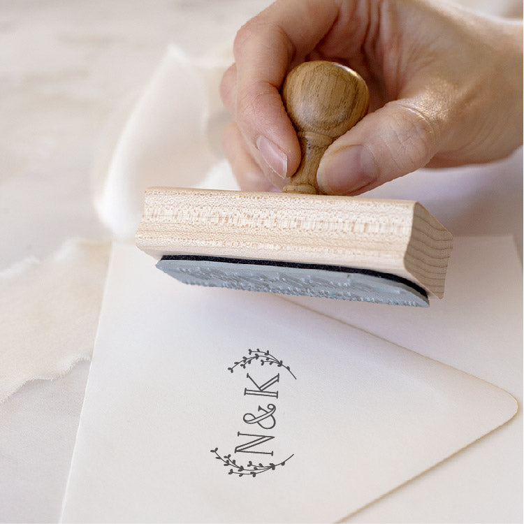 Classic Botanical Monogram Rubber Stamp for Fine Art Weddings | Heirloom Seals