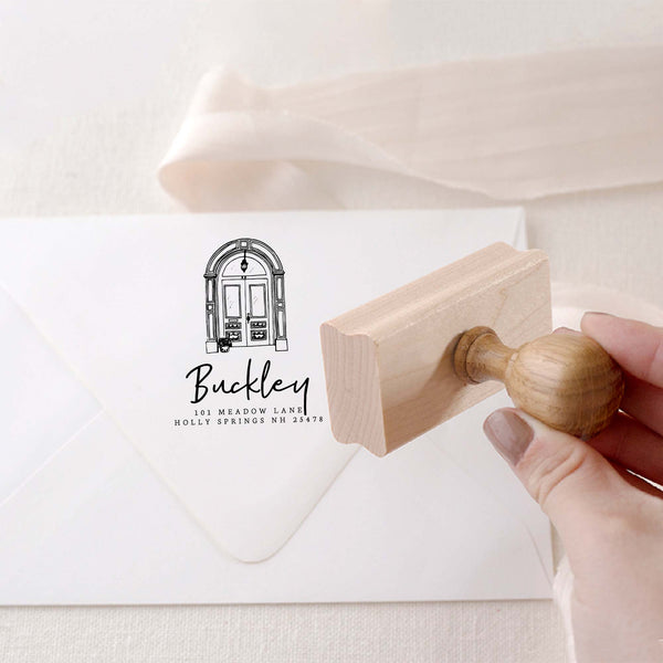 CUSTOM ILLUSTRATED DOOR RETURN ADDRESS RUBBER STAMP