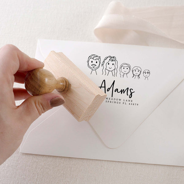 CUSTOM ILLUSTRATION RETURN ADDRESS RUBBER STAMP