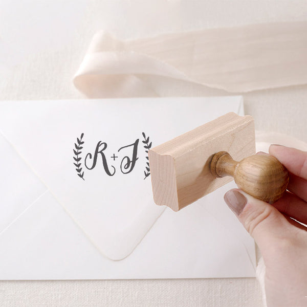 Rustic Script Botanical Monogram Rubber Stamp for Fine Art Weddings | Heirloom Seals