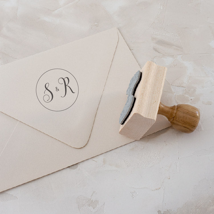 Script Monogram Rubber Stamp for Fine Art Weddings | Heirloom Seals