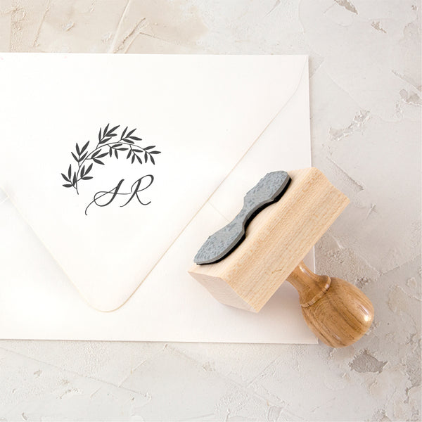 Botanical Script Calligraphy Monogram Rubber Stamp | Heirloom Seals