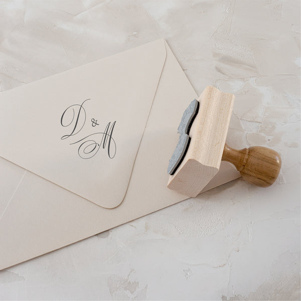 Calligraphy Monogram Rubber Stamp | Script Initials Wedding Invitations | Heirloom Seals