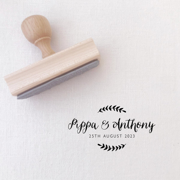 Hayley Rustic Botanical Script Save The Date Rubber | Custom Rubber Stamp Wood for Luxe Packaging & Fine Art Wedding Invitation Stationery | Heirloom Seals