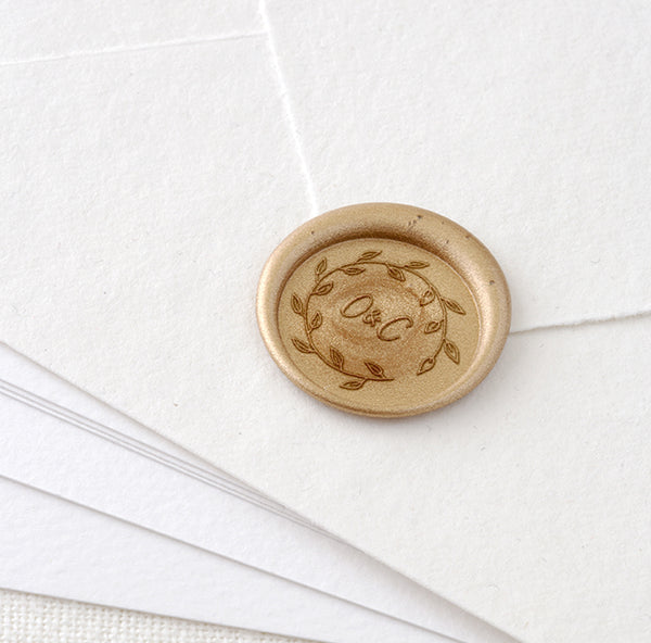 BOTANICAL WREATH MONOGRAM WAX SEAL STAMP - SADIE
