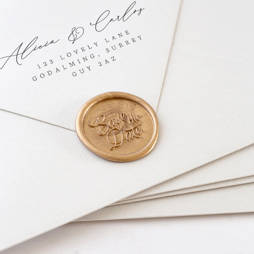 Gold 'Save the Date' Wax Seals | Heirloom Seals
