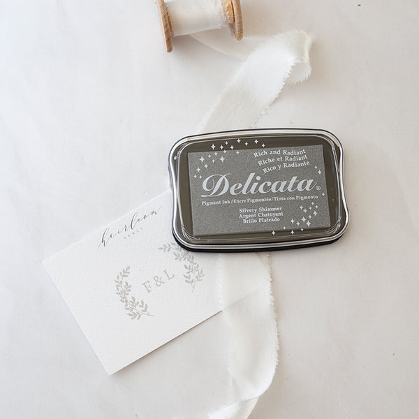 Delicata Silvery Shimmer Metallic Silver Ink Pad | Heirloom Seals
