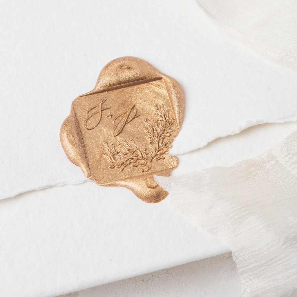 Sirene Seaweed Calligraphy Monogram Self Adhesive Wax Seals | Coastal Beach Wedding Wax Seal | Sea Breeze | Heirloom Seals